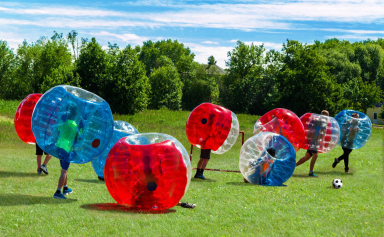 bubble soccer red and blue