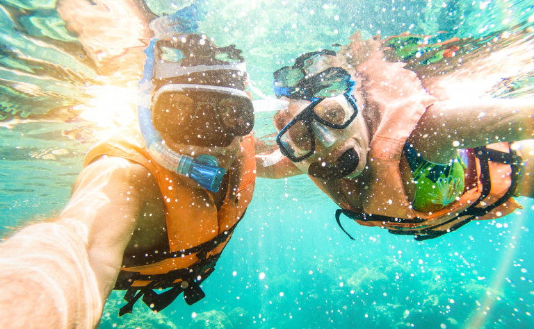 two people snorkle